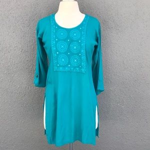 Turquoise Indian Tunic Top